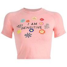 Women Summer Flower Print Pink Sweet T-shirts Girls Short Sleeve Casual Crop Shirts I Am Sensitive L