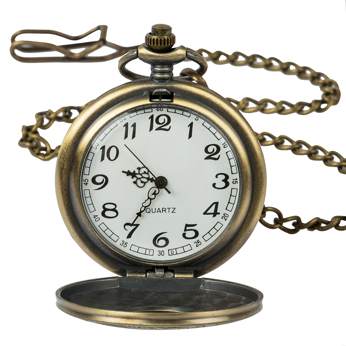 Buy Vintage Steampunk Bronze Quartz Pocket Watch Roman Numerals Clock Time in the pocket Men Women's Necklace Pendant gift Relogio for only 4.86 USD