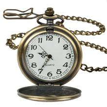 Купить с кэшбэком Vintage Steampunk Bronze Quartz Pocket Watch Roman Numerals Clock Time in the pocket Men Women's Necklace Pendant gift Relogio