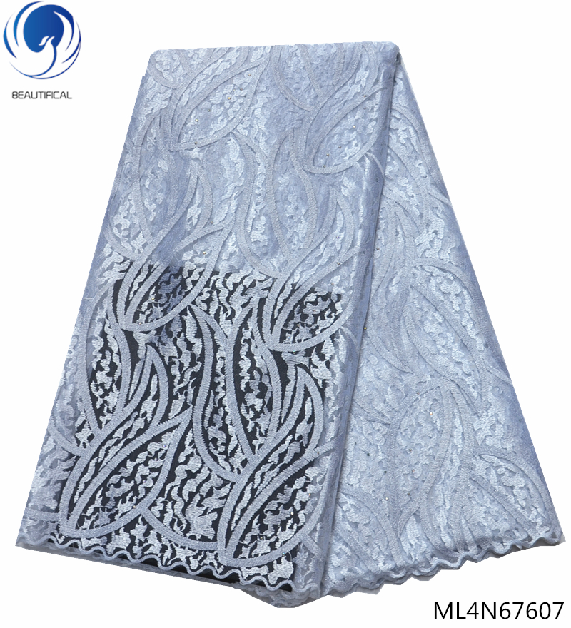 Beautifical lace fabric french latest lace fabric french nigerian laces fabrics 5 yards for evening party clothes ML4N676 in Lace from Home Garden