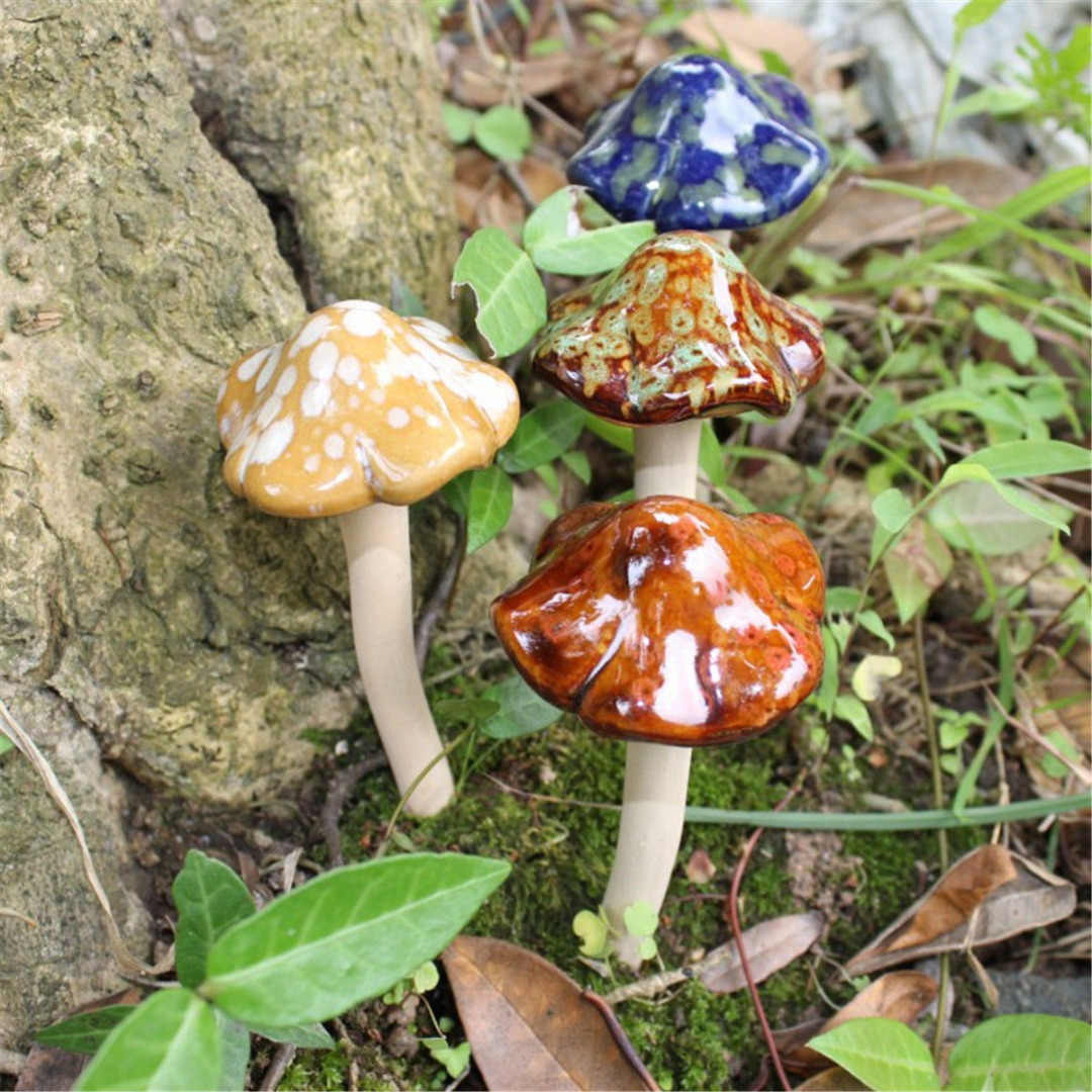 4X12cm Garden Plant Decor 4Pcs Large Ceramic Mushroom Toadstools Fairy Yard Ornament