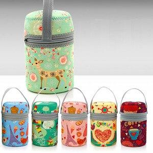 Image 5 - 350ml thermos inox cuillère pliante thermique boîte à déjeuner enfants termos coloré pot à soupe portable sac récipient alimentaire