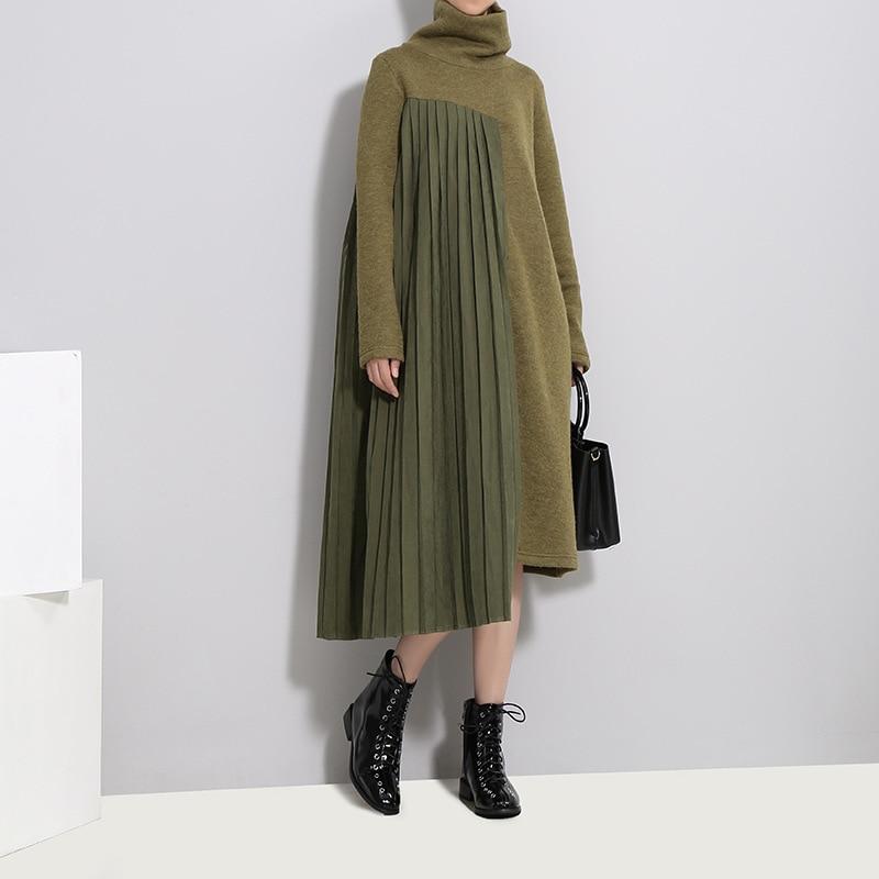 Costume-robe femmes hiver nouvelle grande taille mode Split Joint augmenter vers le bas épaississement haute plomb tricot robe femme