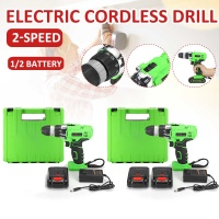 25V Double Speed Electric Screwdriver Cordless Drill Lithium Batteries Wireless Power Driver Tools for DIY Drilling Work