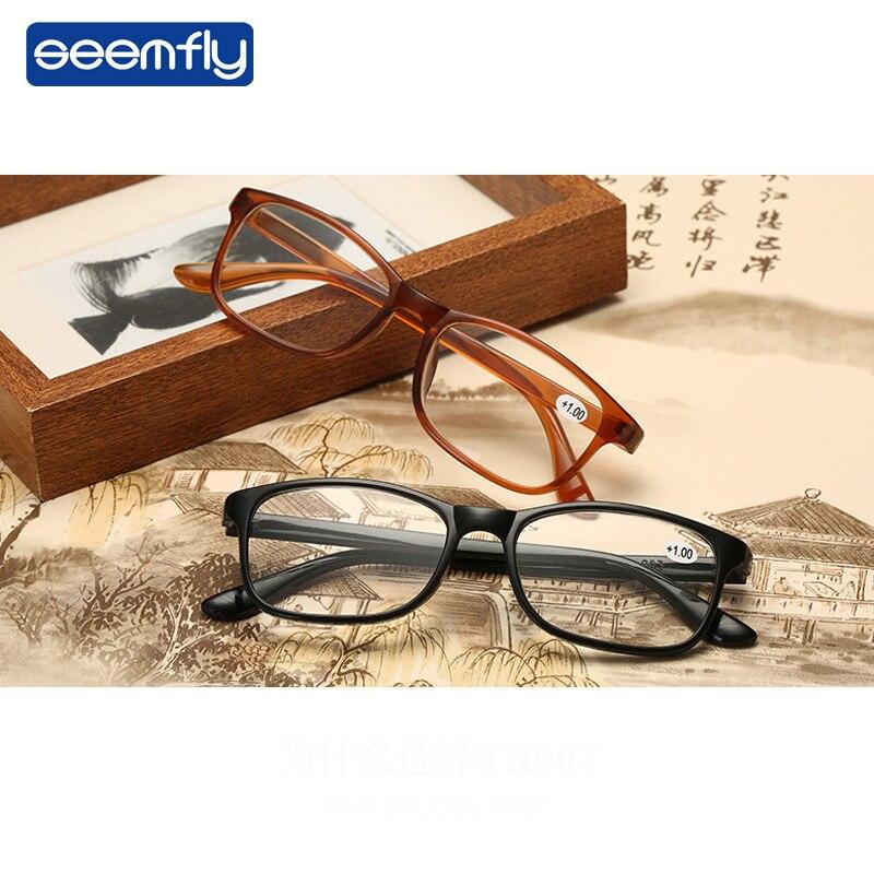 Seemfly Reading Glasses Women Men Ultralight Resin Lenses Elderly TR90 Presbyopic Eyeglasses Diopter 1.0 1.5 2.0 2.5 3.0 3.5 4.0