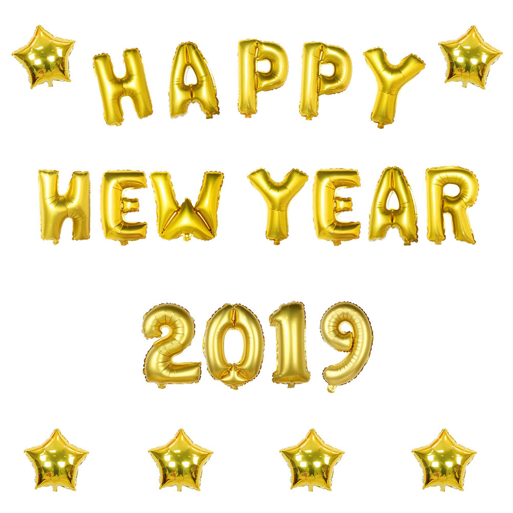16 Inch 2019 Foil Balloons Set Happy New Year Foil ...