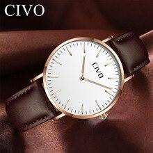 CIVO Watch Top Brand Luxury Waterproof Quartz Wristwatch Classic Design Genuine Leather Ultra Thin Relogio Masculino
