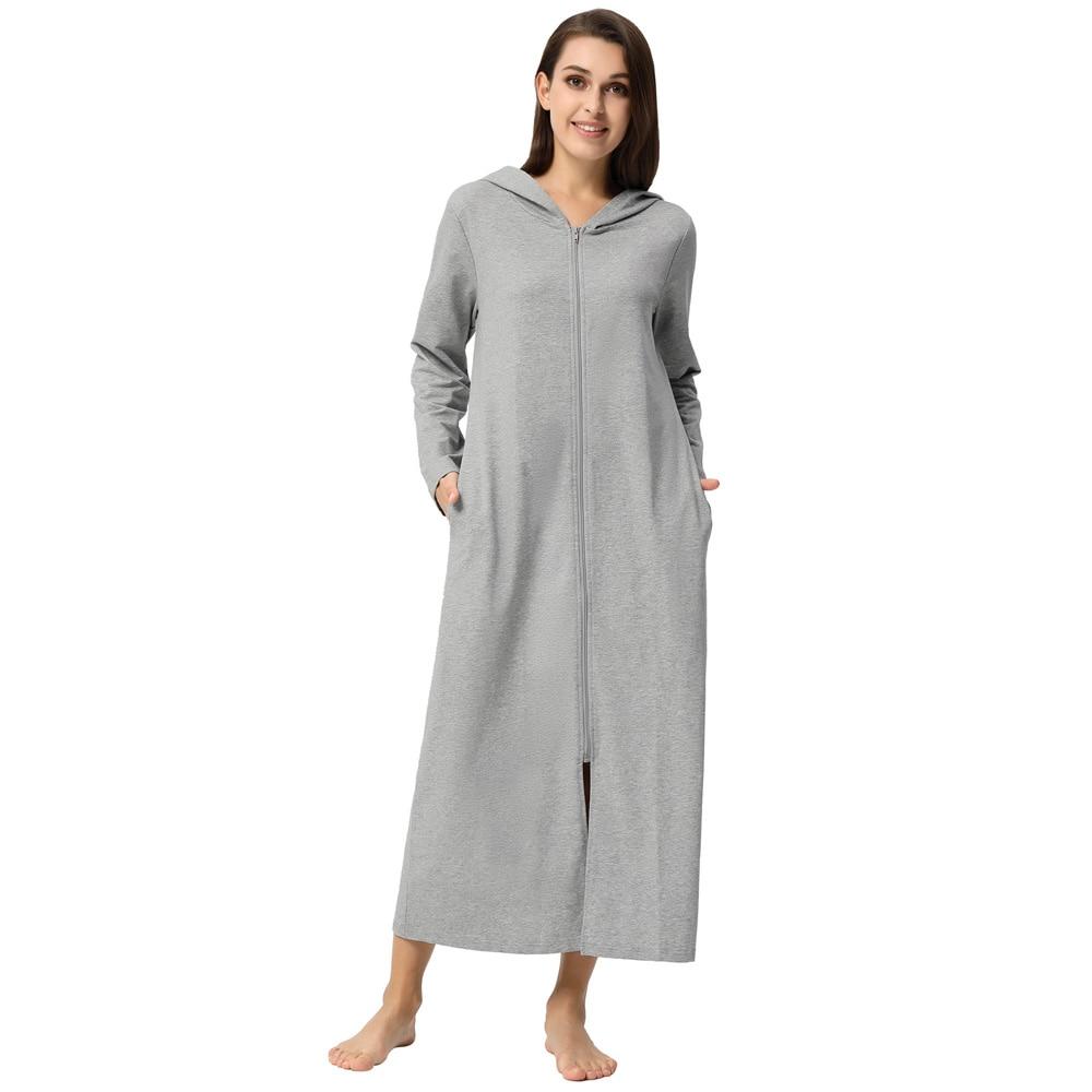 Zexxxy Fashion Womens Full Length Zip Front Long Hoodies
