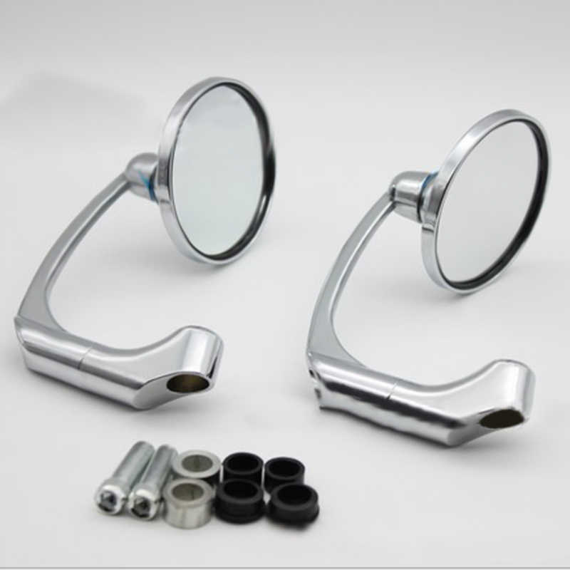 1 Pair Chrome Round Bar End Rearview Side Mirror Adjustable For Cafe Racer\t