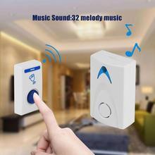 Белый светодиодный дверной звонок, беспроводной дверной звонок с питанием от аккумулятора, 32 Мелодии, 1 пульт дистанционного управления, 1 беспроводной умный дверной звонок для домашней безопасности