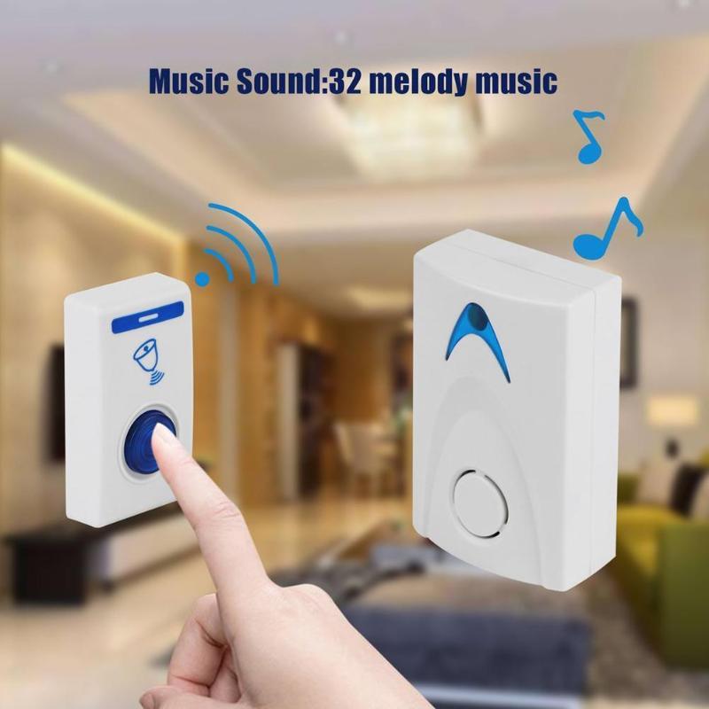 Sonnette de porte blanche LED sonnette sans fil alimentée par batterie 32 chansons de mélodie 1 télécommande 1 sonnette intelligente de sécurité à la maison sans fil