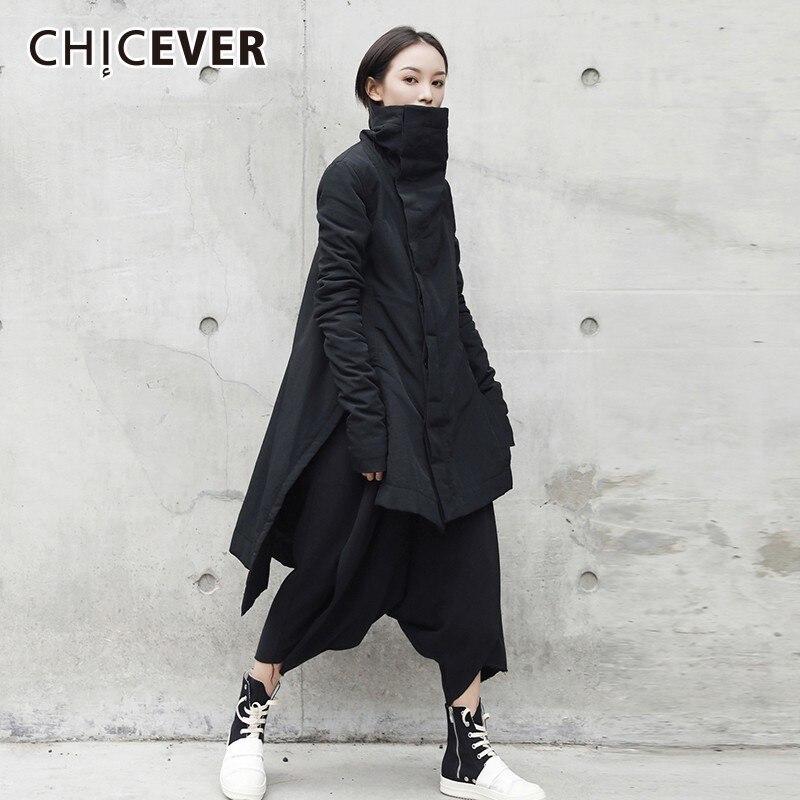 CHICEVER 2019 Winter frauen Unten Jacken Rollkragen Langarm Unregelmäßigen Saum Asymmetrische Jacken Weibliche Mode Streetwear Flut-in Parkas aus Damenbekleidung bei  Gruppe 1