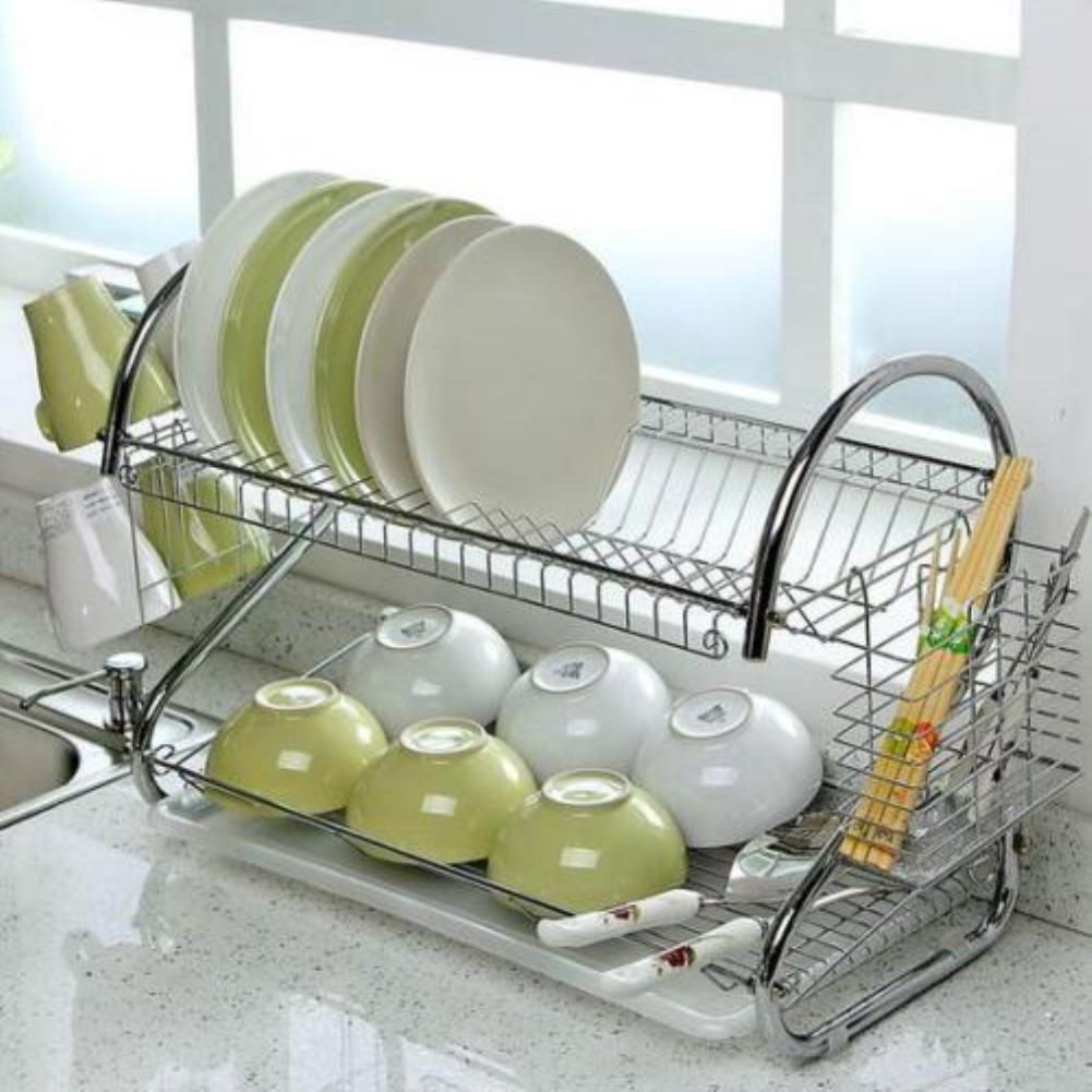 Adeeing Large Capacity Stainless Steel 2-Layer Dish Drainer Drying Rack For Kitchen Storage