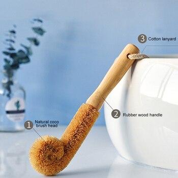 Щетка для чашки из кокосового дерева с длинной ручкой, щетка для бутылки, кухонная чашка для мытья, пинцет, стеклянная щетка для очистки, помощник по очистке