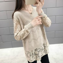 Women Sweaters And Pullovers O-neck Long Sleeve Knitted Pullover Sweater Women Spring Autumn Knitwear Lace Patchwork Sweaters stylish scoop neck long sleeve lace up knitwear for women