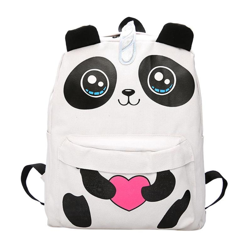 3D Panda Canvas Backpack Teenage Girls School Backpack Harajuku Travel Rucksack Mochila Feminina