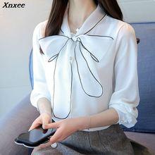 Fashion lace shirt womens Chiffon long-sleeved blouse elegant office lady women blouses white ladies tops OL Xnxee