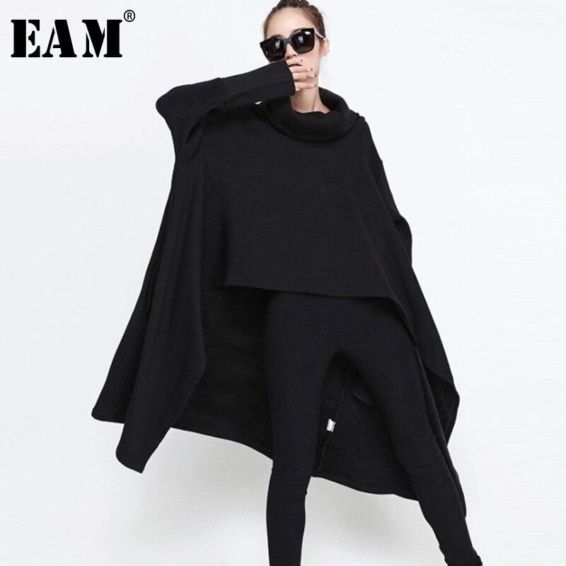 EAM 2019 New Spring High Collar Long Sleeve Black Loose Big Size Irregular Long Sweatshirt