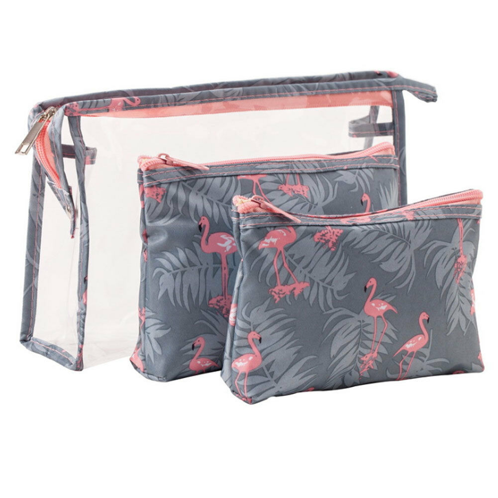3pcs/Set Women's travel cosmetic bag fashion printing PVC waterproof zipper large capacity multi-function storage clutch image