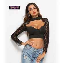 Hook Flower Low Chest Long Sleeve Navel Short Fund Rendering Womens Tops Blouses Vintage Summer Sexy Lace Stitching Shirt недорго, оригинальная цена