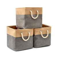 33CM square cotton linen storage basket Foldable drawstring toy storage box Household bedroom car portable storage bucket