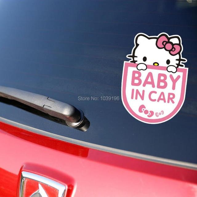 55879ab6f New Style Cartoon Car Styling Hello Kitty Doreamon Chi-bi Mickey Crayon  Baby in Car Decorations Windows Bumper Body Vinyl Decals