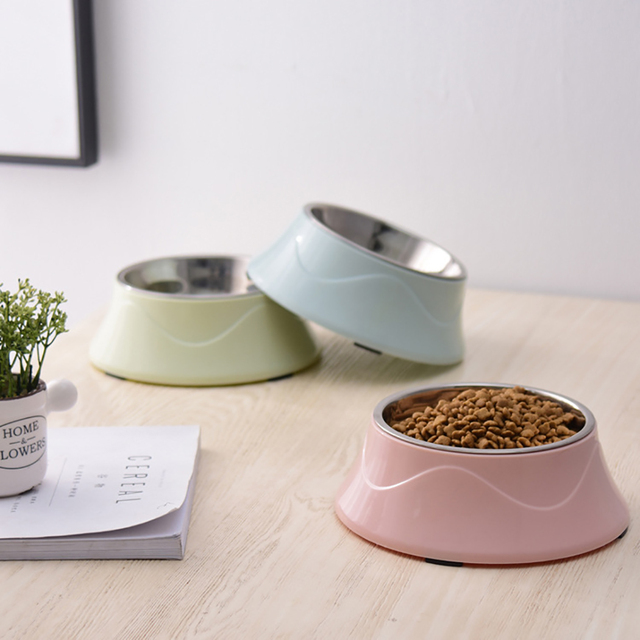 Cat's Pastel Color Stainless Steel Feeding Bowl