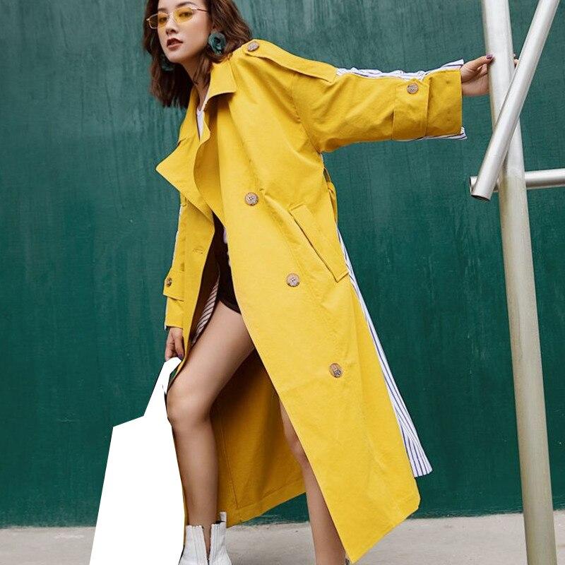 Rayé down eam Manteau Jupettes Section Nouvelle vent Raie Col Vêtements Retour Mode Turn 2019 De Personnalité Coupe Patchwork Yellow Bd Longue qr46w8qF