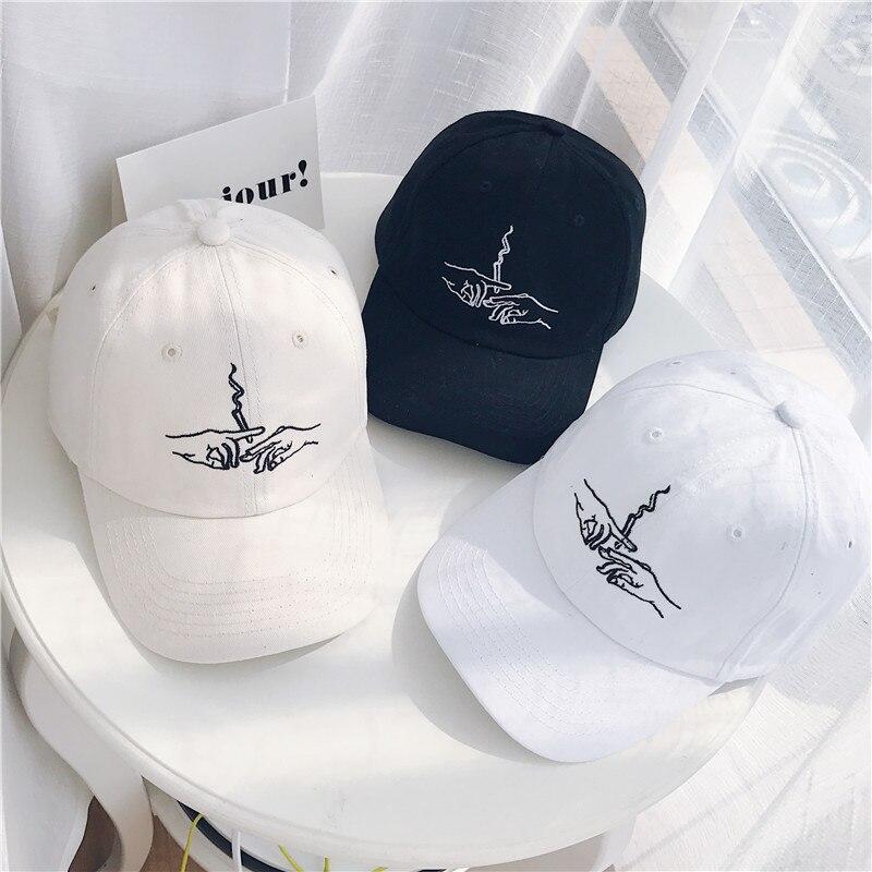 New Brand Smoke Baseball Cap Dad Hat For Men Women Embroidery Hands Smoke Pattern Trucker Cap Weed Bone Golf Baseball Hat Бейсболка