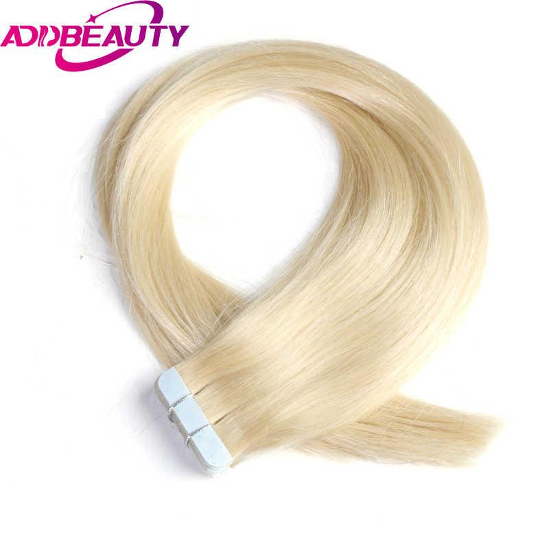 """Addbeauty Saç 18 """"20"""" 22 """"Remy insan saçı postiş 2.5g/standı 20 adet/paket Renk # 1b #613 #27 #4 Bant Saç Cilt Atkı 50g"""