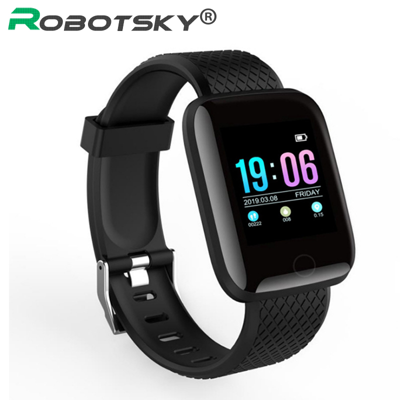 Robotsky D13 Smart Watch Men 1.3 Inch Color Screen Heart Rate Monitor Fitness Tracker Smartwatch Women For Android IOS Phone magnetic attraction bluetooth earphone headset waterproof sports 4.2