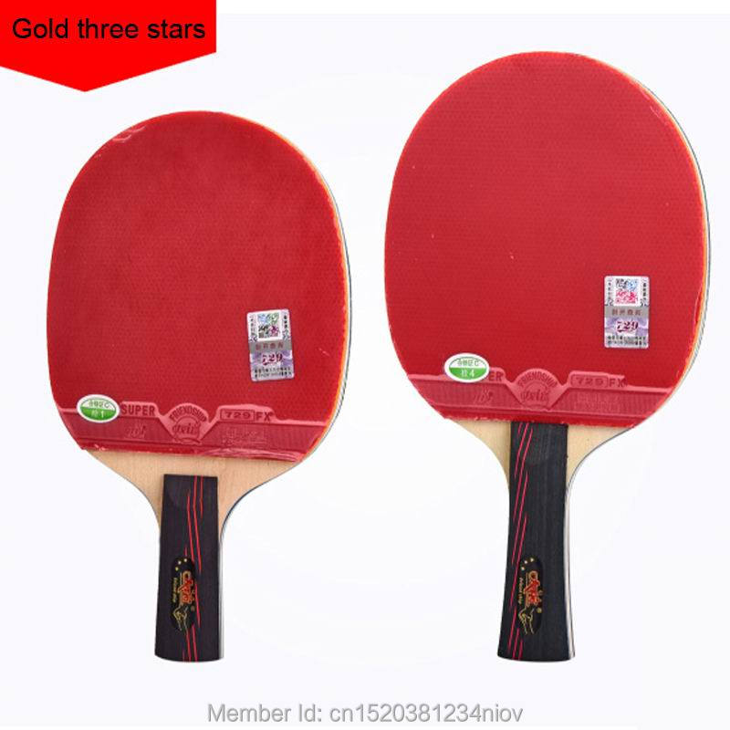 Original <font><b>729</b></font> finished racket gold 3 stars loop with fast attack table tennis racket ping pong gift one case image