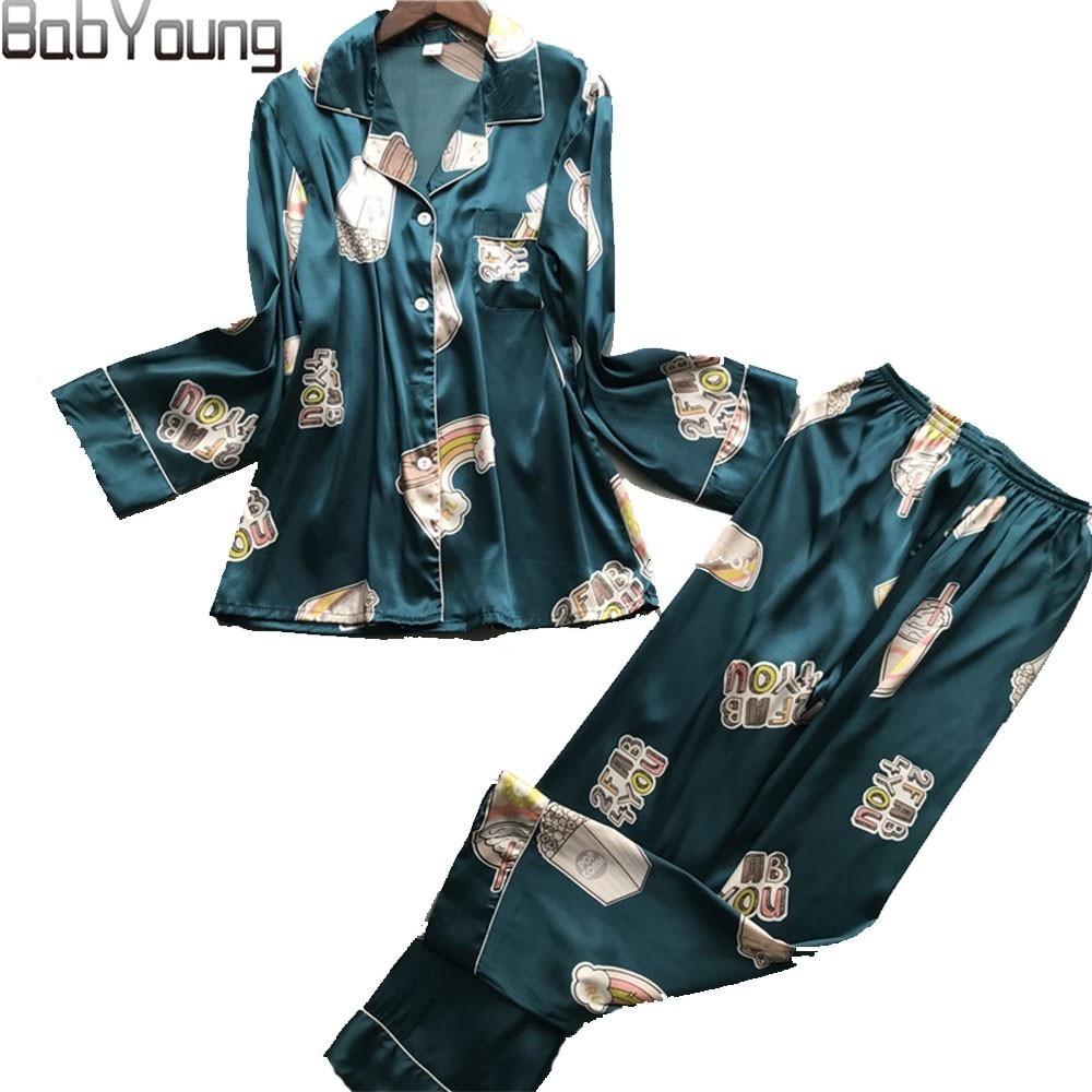 BabYoung New Summer Pyjamas Femme Silk Print Women   Pajamas     Sets   Ladies Sleep PJ Wear Pijamas Mujer Long Sleeve Nightwear Green