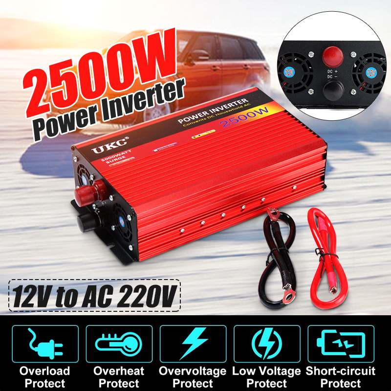 Power Inverter 2500W DC 12 V to AC 220 Volt Modified Sine Wave Converter Car Charge Converter Auto Transformer USB