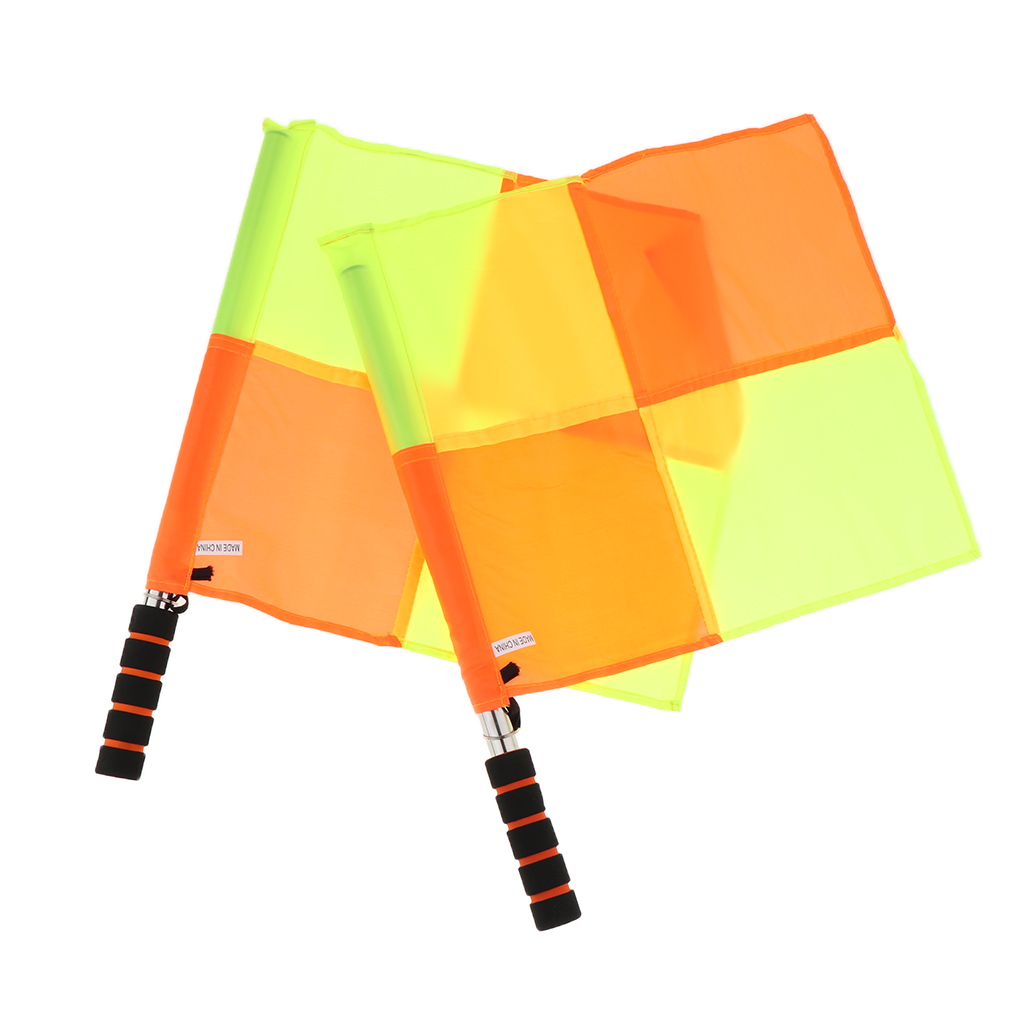 2 Packs Referee Flags For Indoor Outdoor Sports Games With Carry Case And Sponge Handle, Lightweight And Portable