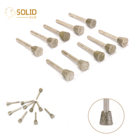 20Pcs 14mm Diamond Grinding Head with 1/4 Shank Mounted Point Burrs Bits Rotary Tool for Engraving Glass, Jade and Stone 60#