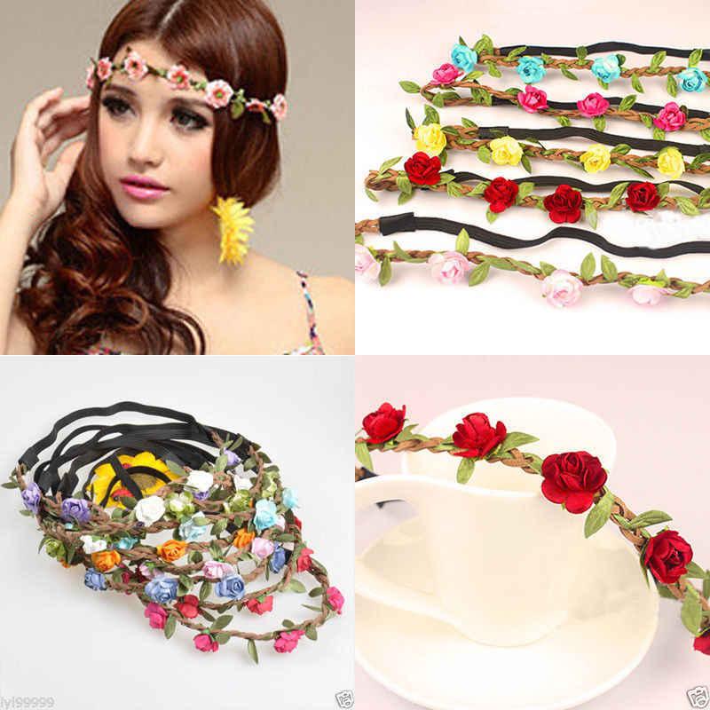 Boho тканевые праздничные Свадебные нарядные повязки на волосы гирлянда на волосы на лбу женские Цветочные головные уборы