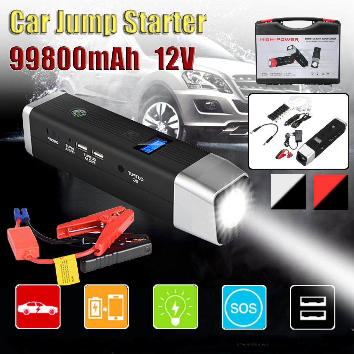 Multifunction Jump Starter 99800mAh 12V 2USB 500A Portable Car Battery Booster Charger Booster Power Bank Starting Device(China)