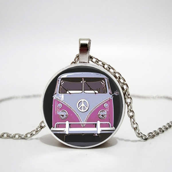 New retro hippie peace sign fan bus necklace fashion men and women jewelry convex round glass pendant necklace