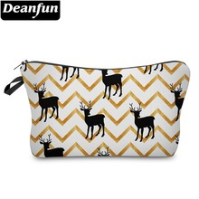 Deanfun 3D Printing Zig Zag Wapiti Waterproof Cosmetic Bag Roomy Cute Elk Makeup Bags Organizer  51349 #