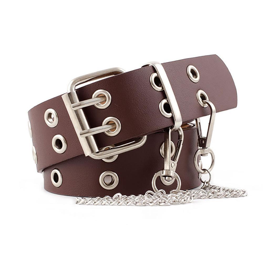 Double Row Hole   Belt   For Men Women Fashion Punk Rock   Belts   Street Hip Hop Strap Double Pin Buckle Female Jeans   Belt   With Chain