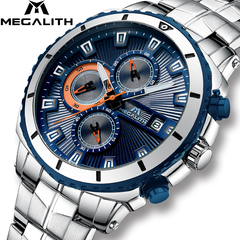 MEGALITH Luxury Brand Watches For Mens Casual Sports Chronograph Quartz Watch Waterproof Stainless Steel Male Clock Reloj