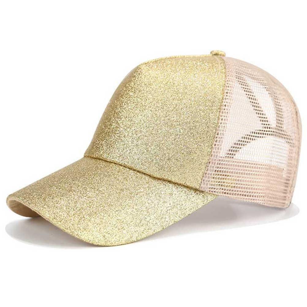 2019 Glitter at kuyruğu beyzbol şapkası kadın Snapback yaz örgü şapka kadın dağınık topuz şapka rahat ayarlanabilir Streetwear Hip Hop şapka