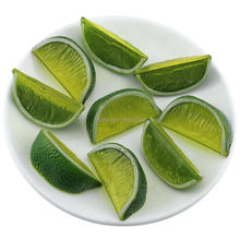 Gresorth 9 PCS Artificial Green Lemon Slice Fake Fruits Slices Home Table Cabinet Decoration