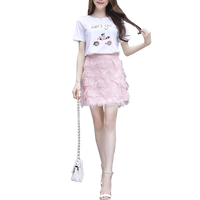 Sweatshirt Skirt French Fashion 2019 Two Piece Suit Summer Vestidos Top Skirts Outfit Top Clothes Print Sweatshirts Pink Skirt