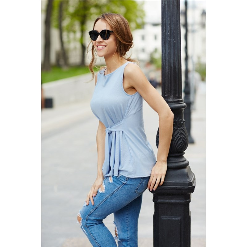 Blouse with belt. Color sky blue blouse with belt color sky blue