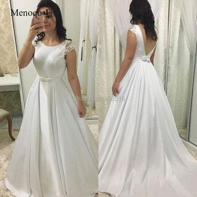2019 New Simple Satin Wedding Dress Backless A Line Short Lace Sleeve Custom Made Bridal Dresses Cheap Vestido De Mariage