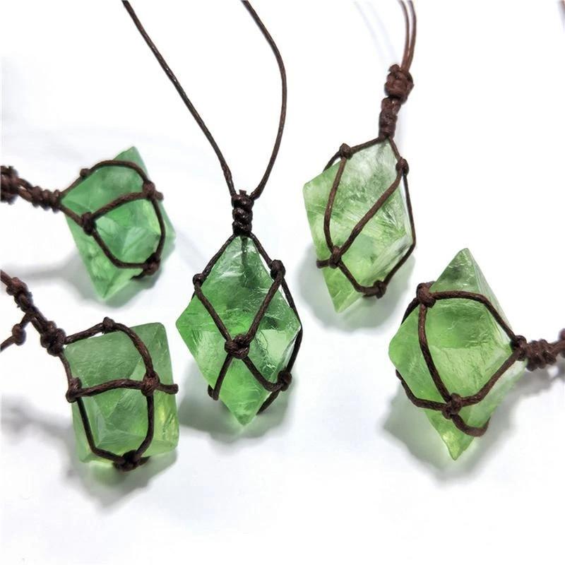Fluorite macrame necklace