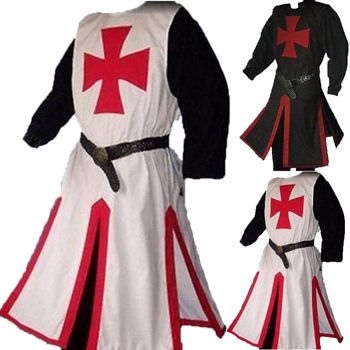 Templar Knight Crusader Surcoat Reenactment Medieval Period Tunic Stage Costumes Long Sleeve Patchwork Male Long Tops Plus Size