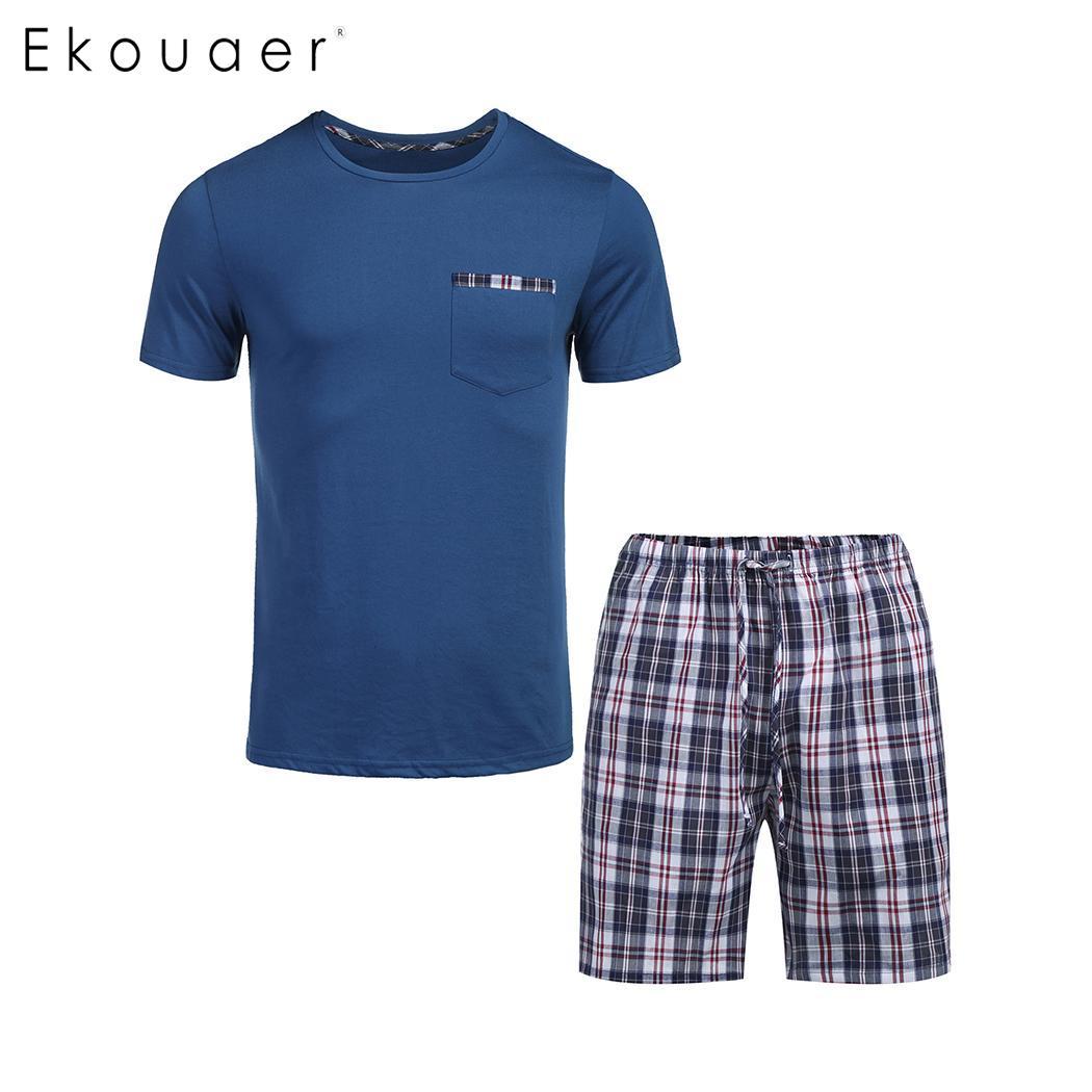 Ekouaer Men Summer Pajamas Set Nightwear Round Neck Short Sleeve T-Shirts Plaid Pocket Shorts Pajamas Male Sleepwear Suits